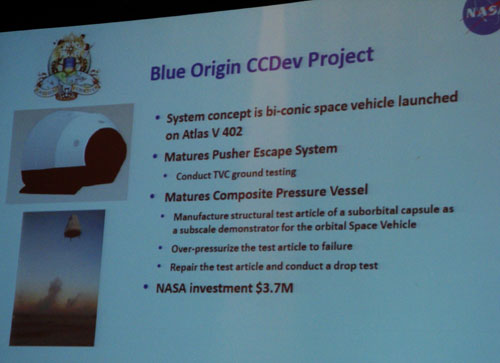 Blue Origin CCDev award details