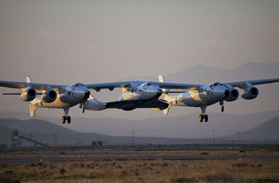WhiteKnightTwo and SpaceShipTwo take off Monday morning from Mojave (credit: Mark Greenberg)