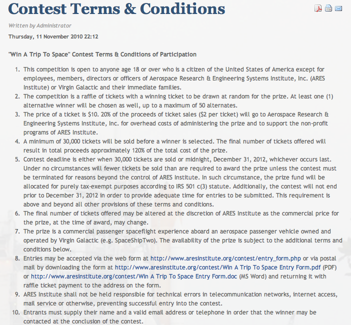 Screenshot of original competition rules