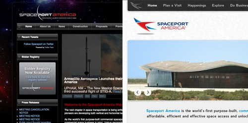 Old and new Spaceport America websites